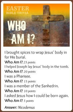 Easter Bible trivia can add a lot of competitive fun to an Easter Sunday School lesson or family party. This Who Am I Easter game highlights some of the most popular Easter Bible characters.