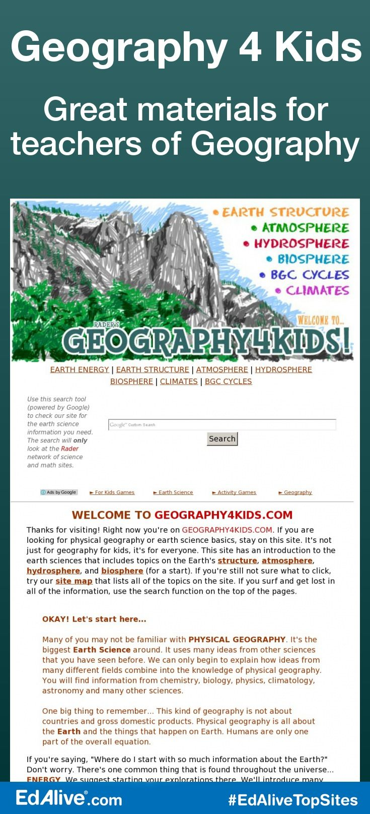 Great materials for teachers of Geography | Where kids learn about earth structure, atmosphere, hydrosphere, biosphere, BGC Cycles, Climates #Geography #EdAliveTopSites