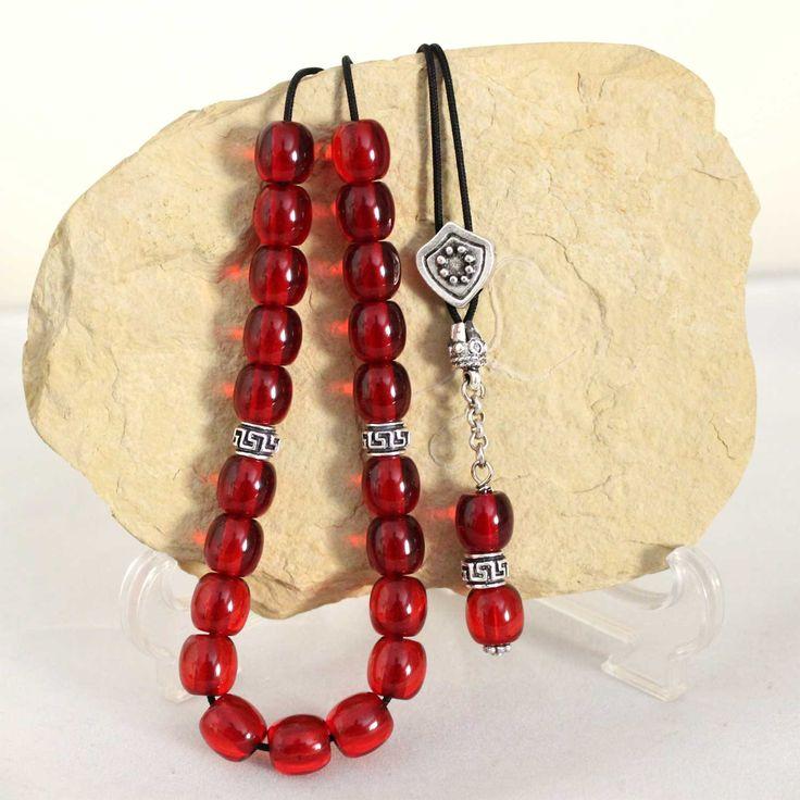 Cherry Red color Worry Beads, Handmade Greek Komboloi, Black cord & Round Barrel Beads, Relaxation, Meditation by AlterDecoCoinsnBeads on Etsy #worrybeads #komboloi #Greece #tasbih #prayerbeads