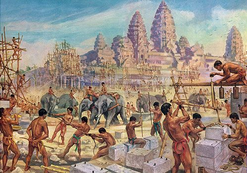 Elephant Teams Drag Heavy Stones for the Building of Angkor Wat by Maurice Fievet