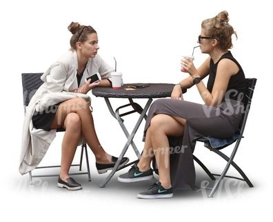 Two Young Women Sitting At A Cafe Table Cut Out People