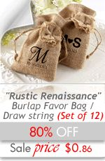Rustic Renaissance Burlap Favor Bag with Drawstring Tie (Set of 12) - Wedding Favors Cheap - $0.86 - 80% OFF - Bridal Shower Favors Cheap - Party Favors Cheap - Wedding Shower Gifts Favors - Discount Favors - #rusticfavors #favorbags #weddinggifts #cheapweddingfavors #discountweddingfavors - http://www.warmimpressions.com/WEDDING_FAVORS/Rustic-Renaissance-Burlap-Favor-Bag-with-Drawstring-Tie-Set-of-12-Favors-kate-aspen-29035NA.html   small