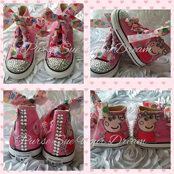 Peppa Pig Themed Converse Shoes - Pegga Pig Birthday - Custom Crystal Rhinestone Converse Shoes