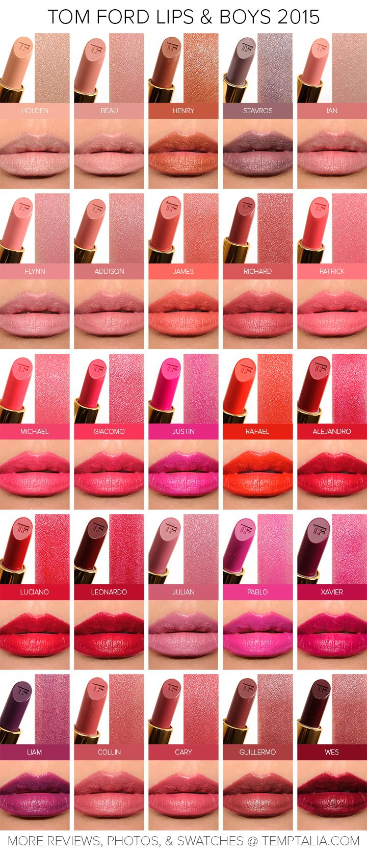 Sneak Peek: Tom Ford Lips & Boys 2015 Swatches & Photos (Returning Shades) | Temptalia | Bloglovin'