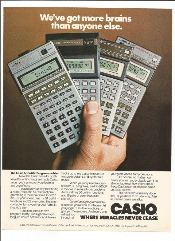 1981 Advertisement Casio Scientific Calculator Programmable Math Physics Calculus Homework Student 80s Wall Art Decor
