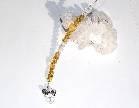Gardian angel yellow car charm Rückspiegel Auto Spiegel Anhänger 16cm Glas Kristall Engel Charm,  aus 4-8mm großen topas, bernstein gelben und klaren Glasschliffperlen und Rondelle, verziert mit silbernen Metallteilen