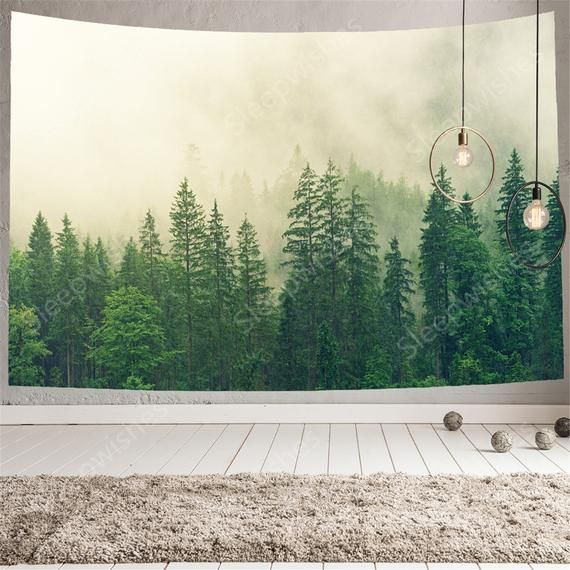 Virgin Forest Tapestry Wall Hanging Green Tree In Misty Forest Etsy In 2021 Forest Tapestry Landscape Wall Tapestry Tapestry Nature