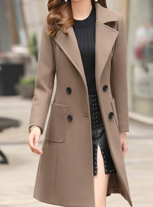 Women S Daily Basic Fall Amp Winter Long Trench Coat Solid