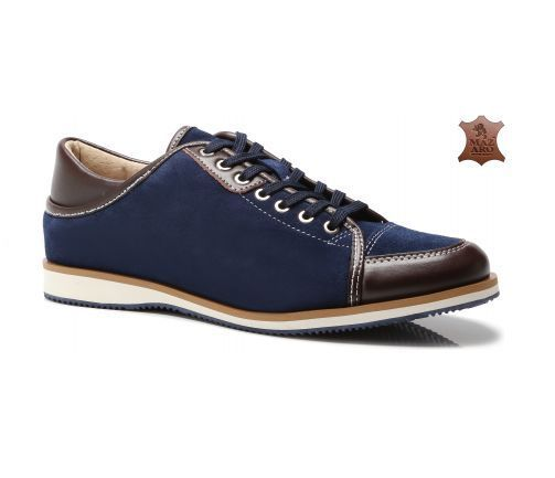 Mens New Shoes Blue Luxury Trainers Leather Suede Lace Smart Size 6-11 UK