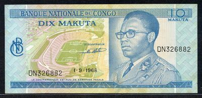 African currency Congo Zaire - 10 Makuta banknote of 1968, issued by the National Bank of Congo - Banque Nationale du Congo.  Obverse: Portrait of President Mobutu Sese Seko; Kinshasa stadium.