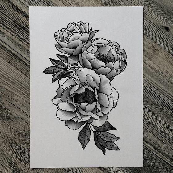 peony tattoo black white - Recherche Google