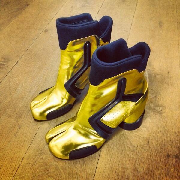 Gold and neoprene Martin Margiela ladies boot, AW14