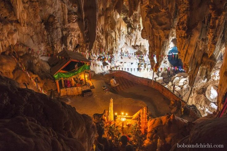 Exploring Thakhek Laos, One Cave at a Time - Meditating-in-cave
