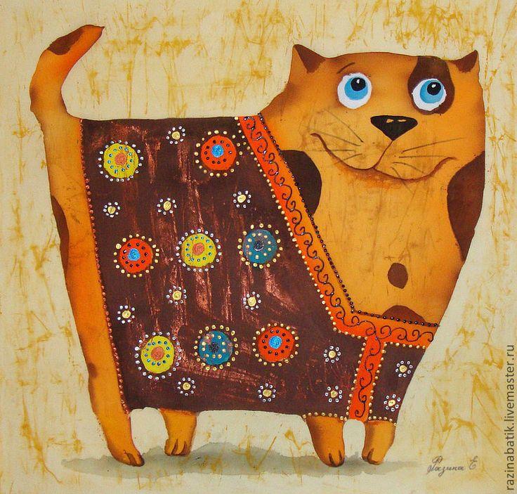 Купить Котофеич в жилеточке (батик панно) - кот, Батик, картина, коричневый, краски по ткани, шёлк