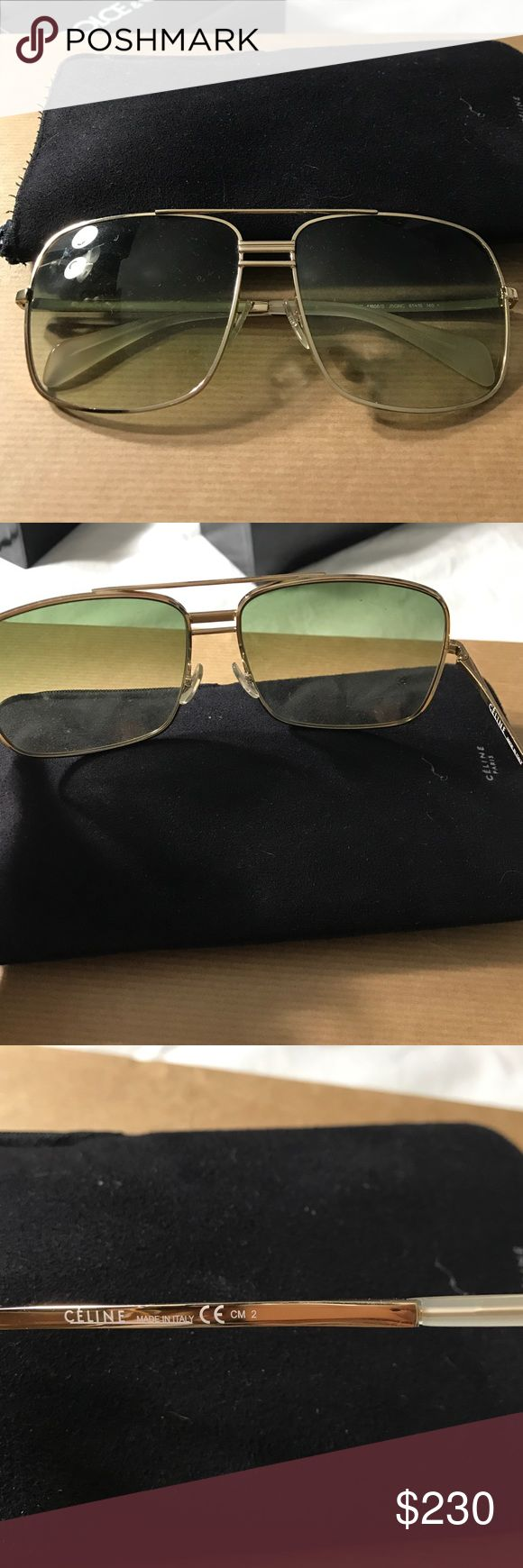 NEW  AUTHENTIC CELINE Sunglasses CL 41808 Gold*** never worn ! Beautiful shades gold/ green gradient **UV purchased at cohens optical Celine Other