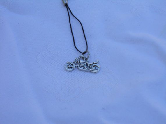 Masculine Motorcycle charm cell phone lanyard by CelestialStudio13, $7.00
