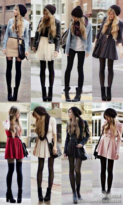 Full high fashion winter look. Black chunky heels, black stockings, black skirt, black leather jacket.