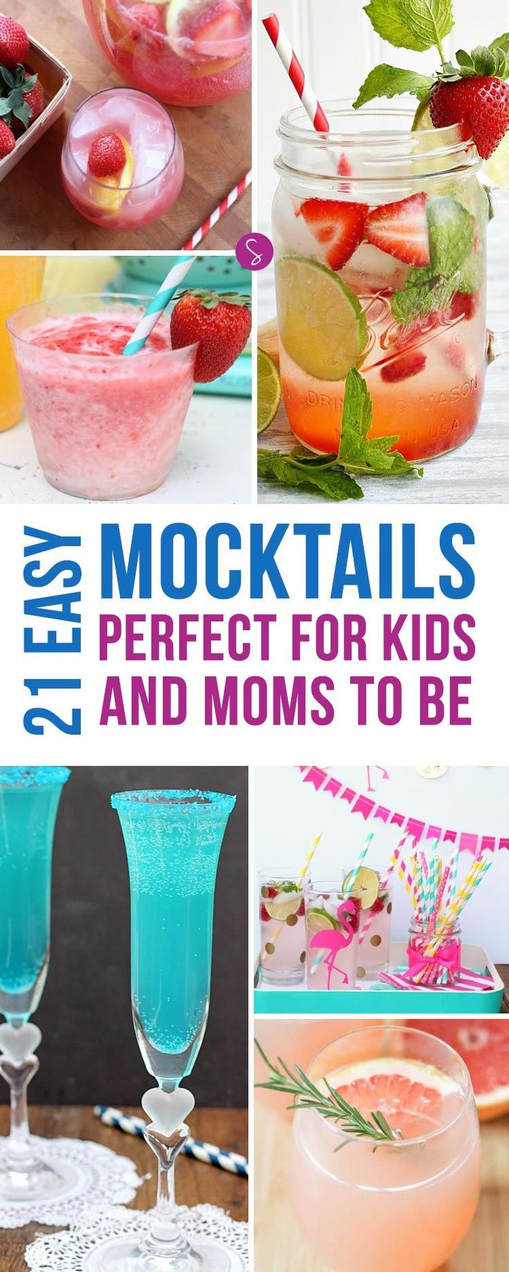 Easy Mocktail Recipes for Kids and Baby Showers! Just because they can't drink alcohol doesn't mean their party drinks have to be boring right?