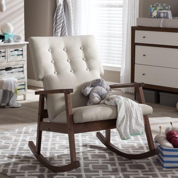 Baxton Studio Agatha Mid-century Modern Light Beige Fabric Upholstered Button-tufted Rocking Chair