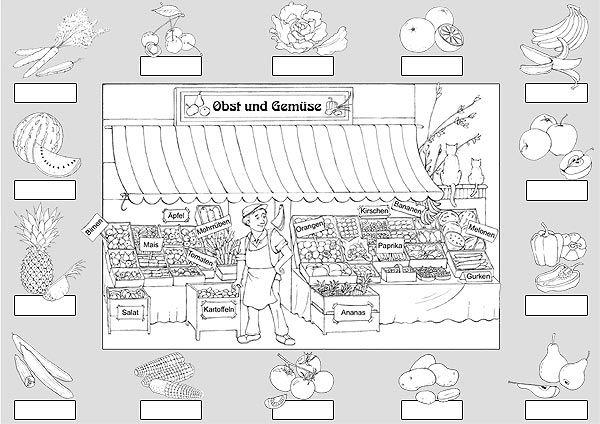 ausdrucken und ausmalen | obst und gemüse, obst, gesunde