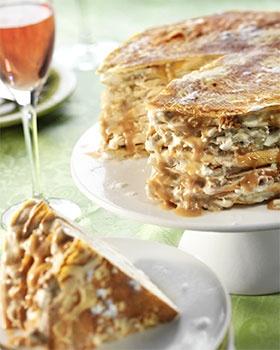 Crêpes Cake with Stroopwafel-icecream (Stroopwafel is typical Dutch)