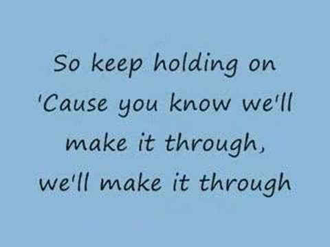 I feel in love with this song when my mom showed me a video on youtube with this playing in the background. Haven't been able to stop listening to it since. Keep Holding On by Avril Lavigne