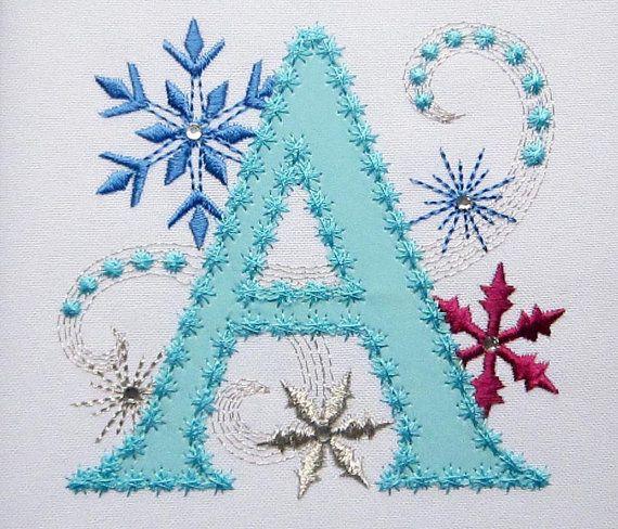 Ice Princess Applique Letter A Frozen Cloth by ...
