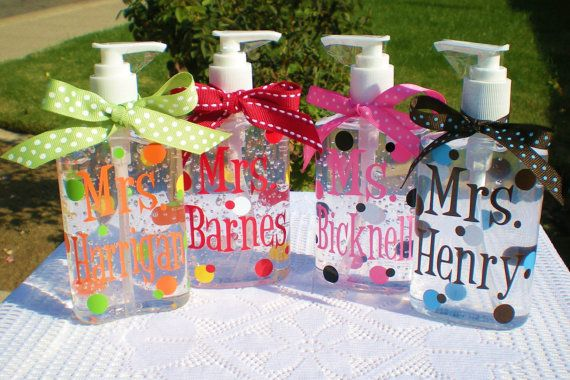 Personalized hand sanitizer bottles.  Great teacher gift!