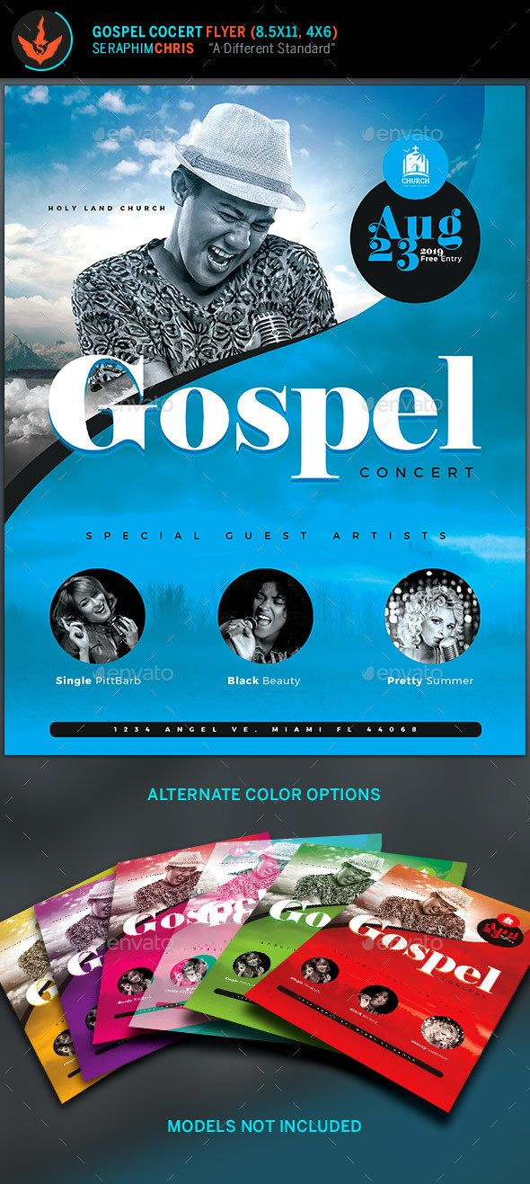 Modern Gospel Concert Flyer Template This Gospel Concert flyertemplate is designed with a stylish color palette and a clean modern layout.Although its tailored for this specific occasion, it can also be used formultiple types of events. Perhaps you need a des