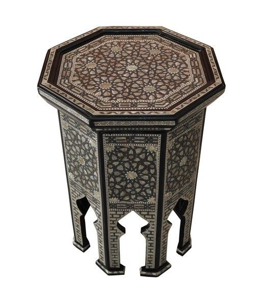Table Large Egyptian Mother Of Pearl Inlaid Wood Coffee Table