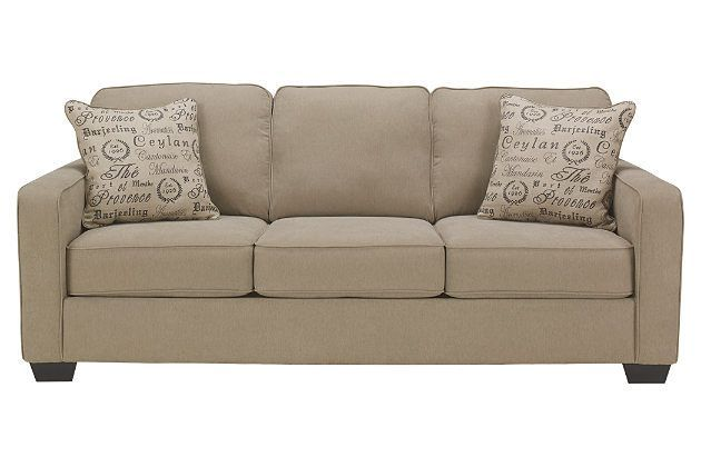 Tan three person sofa for your living room furniture