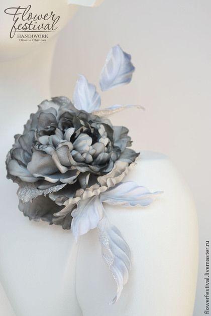 """Silk flowers. Роза из шелка """"Мерцание серебра"""". Брошь из ткани. Цветы из шелка. Handmade. Цветы ручной работы Оксаны Чистовой. Ярмарка Мастеров - ручная работа."""