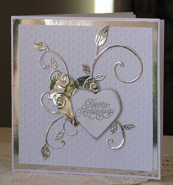 Anniversary Card In Silver And White Wedding VowsWedding Cards50th
