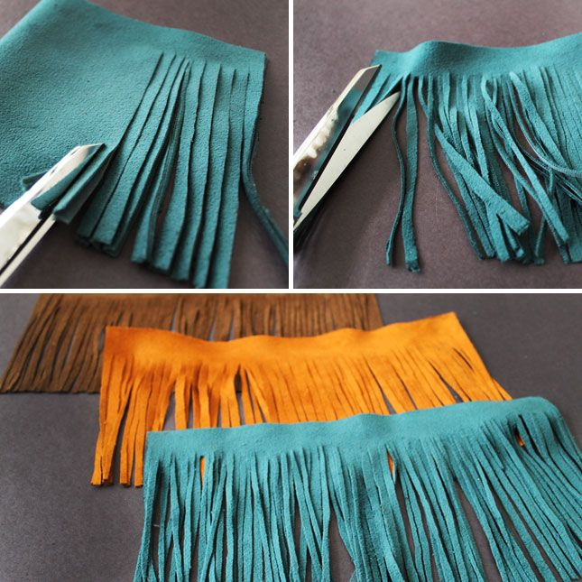 Tassels-4-Fringe  If you do this, please do not use hot glue as it will not hold the suede leather very well, go get some Leather Weld from Tandy Leather, it comes in small bottles and does not cost that much. It will hold the suede and won't fall apart.