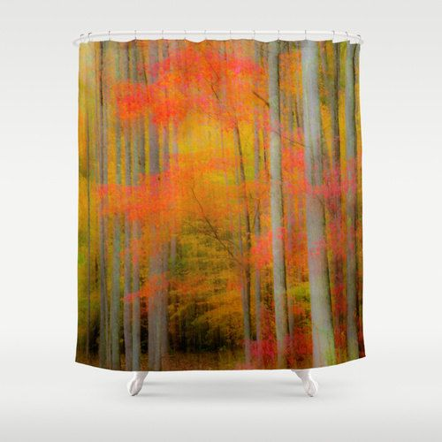 Check out Fall Shower Curtain, Impressionism Decor, Autumn Shower, Tree Shower, November Decor, Rustic Shower, Autumn Bathroom, red leaves, Watercolor on mayaredphotography