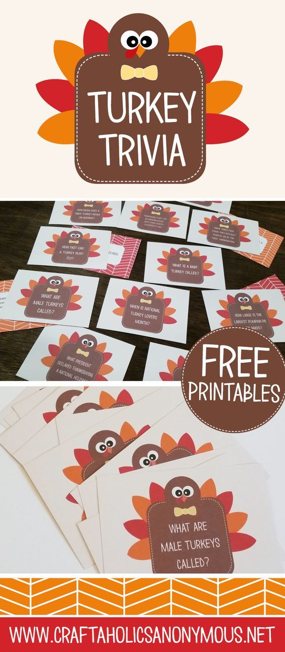 Free printable Turkey Trivia Cards for a fall library center!