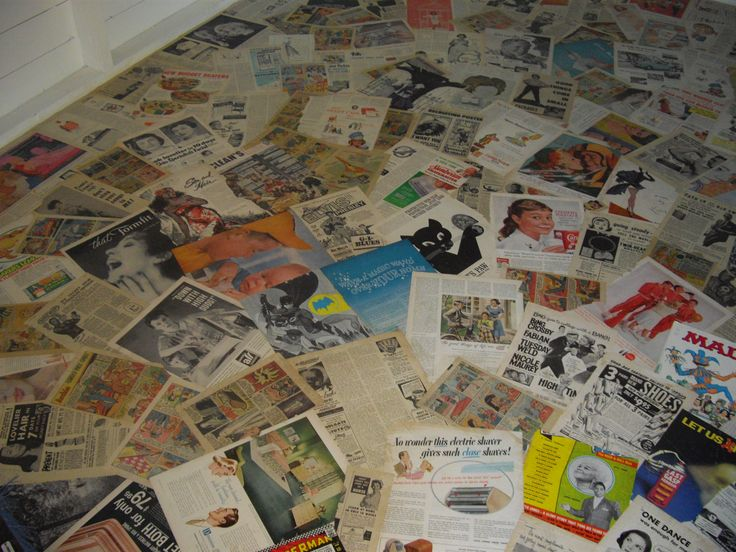Decoupage Floor Using Vintage Magazine Ads Hard Work