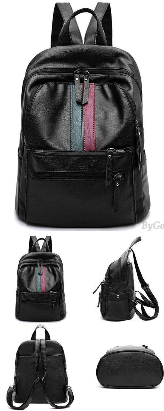 Retro Girl s Red Green Stripe Blocking Large Capacity School Backpack PU  Black Travel Backpack for big e4cfa73ac0eea