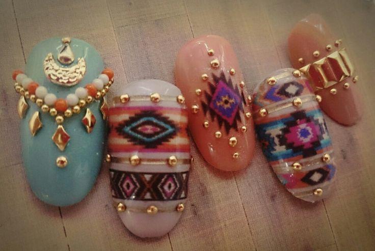 秋ネイル♡ボヘミアンデザインのサンプルチップ★ の画像|TAT岡山店のネイルブログ