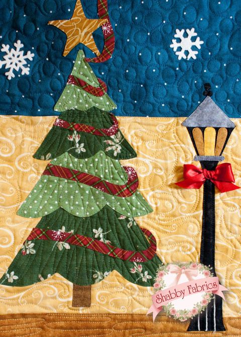 "Blessings of Christmas ""Night"" version: block-of-the-month design by Shabby Fabrics, close up photo at Pretty by Hand"