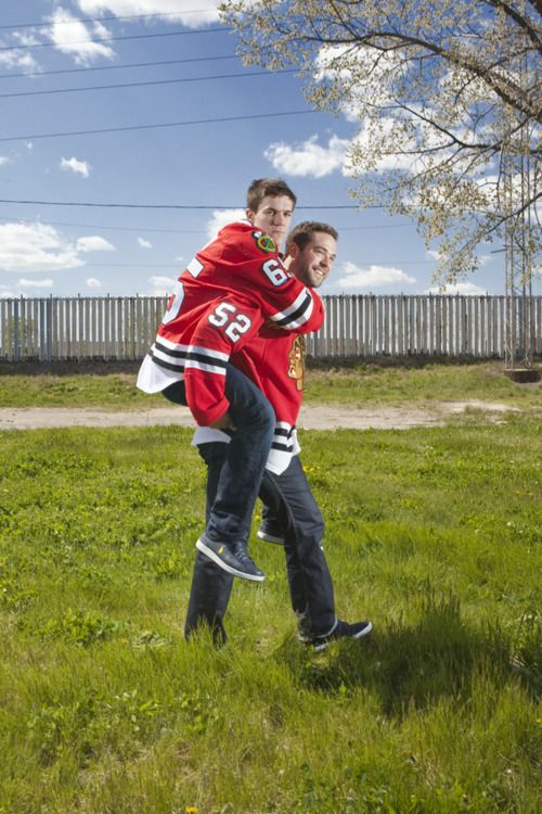 Helping out a brother (Brandon Bollig #52 LW; Andrew Shaw #65 RW).  #Bromance