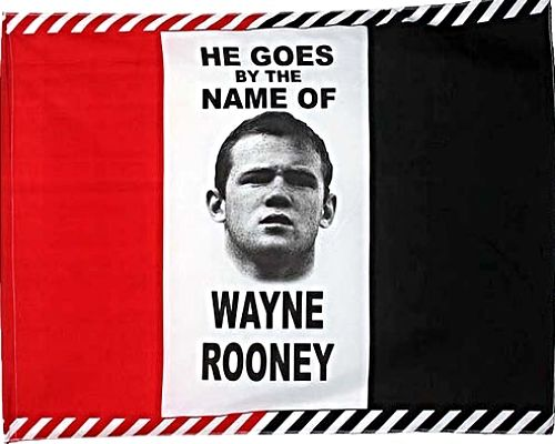 He Goes by the Name Rooney United Player Tri-color Flag