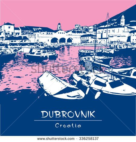 Dubrovnik, Croatia. Illustration of harbor and old town. Blue and pink color.  Vector image edited of author's photo.  For brochure, book cover, poster, greeting card, presentation, guide.