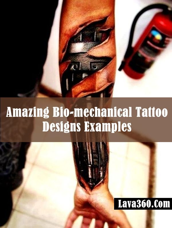 35 Amazing Bio-mechanical Tattoo Designs Examples