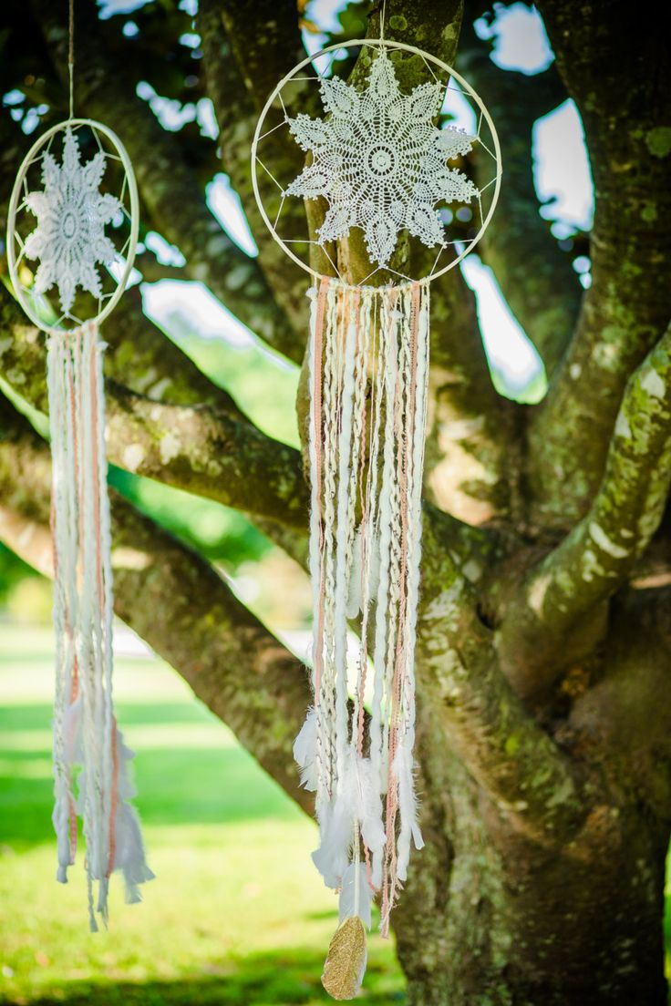 Bohemian Dream Catcher in White,Pink and Gold by TheHouseOfSparkle on Etsy