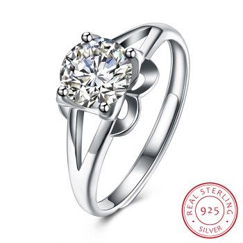 UFOORO 925 Silver Ring with CZ Fine Jewellry for Women 2017 New Resizable Real 925 Sterling Silver Jewelry USH-R0013