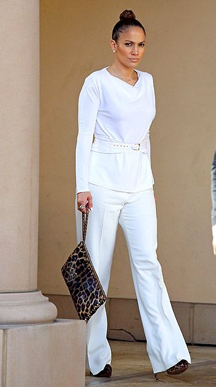 Jennifer Lopez was a chic vision in white heading to lunch Bouchon in L.A. Jan. 29.