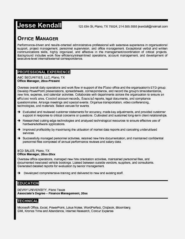 office manager resume example free resume template resume examples