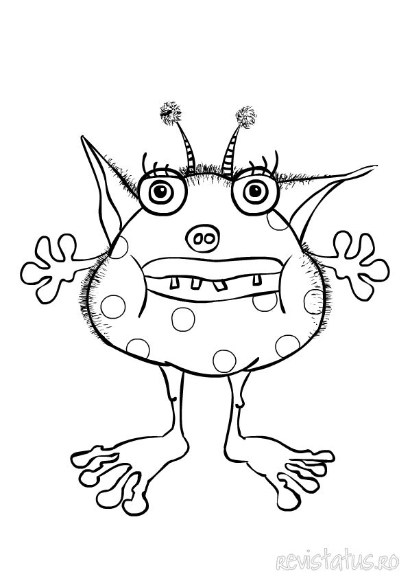 monster colouring 4 Monsters for kiddies parties