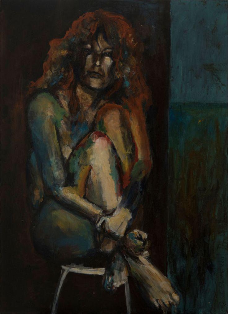Schilderij 'Frieda' 60 x 80 cm. Op 3D doek. Schrijfster Frieda Mulisch gaf zich bloot voor dit schilderij. Ze schreef ook de teksten bij het boek. Oplage 500 stuks. Verkrijgbaar via www.ombrenix.nl